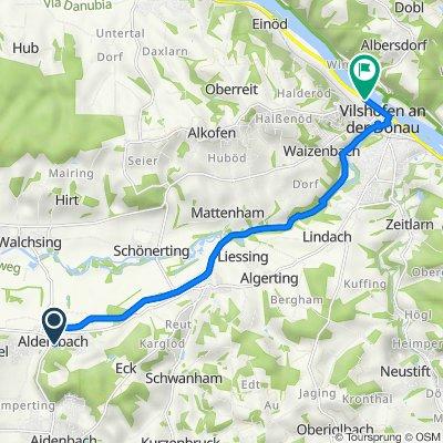 Freiherr-von-Aretin-Platz 1, Aldersbach nach Glasergasse 14, Vilshofen an der Donau