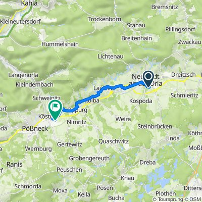 Arnshaugker Straße 47, Neustadt an der Orla nach Weidenäckerstraße 4 a, Pößneck