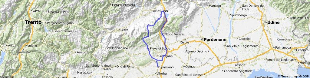 Spresiano Nevegal via San Boldo e Valmorel