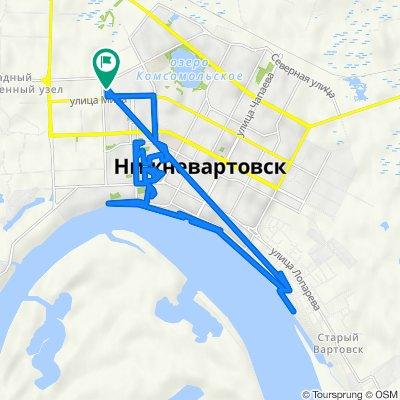 От улица Менделеева 28, Нижневартовск до улица Менделеева 28, Нижневартовск