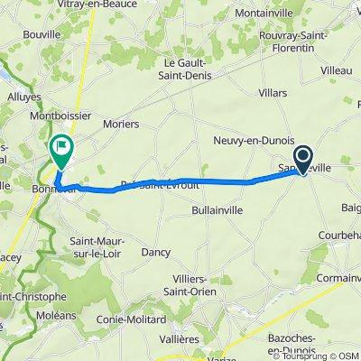 De 40 Rue des Ouches, Sancheville à 2–4 Route de Voves, Bonneval