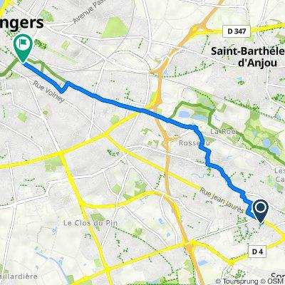 De 65E Impasse Jean Jaurès, Trélazé à 35 Rue Bressigny, Angers