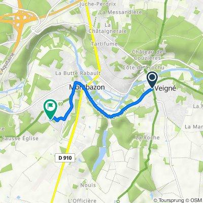 De Place du Maréchal Leclerc, Veigné à 7 Allée Alexander Fleming, Montbazon
