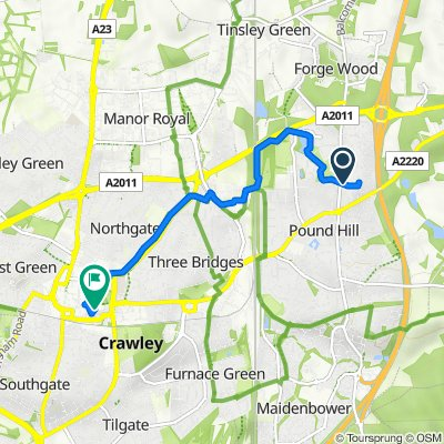96 Heathfield, Crawley to 16 County Mall, Crawley