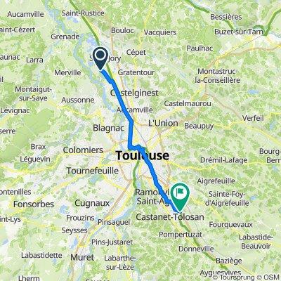 De 1 Chemin d'Allègre, Saint-Jory à Chemin de Halage, Castanet-Tolosan