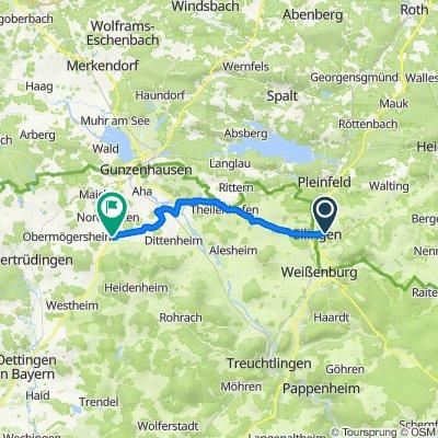 Tiergärtleweg, Ellingen nach Marktplatz 1, Gnotzheim