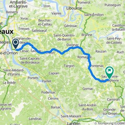De Chemin du Port de l'Homme 3, Latresne à Rue de la Pierichotte 4, Sauveterre-de-Guyenne