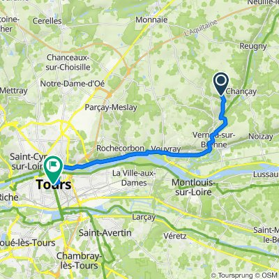 De 20 Rue du Château de Vaux, Chançay à 2 Place Jean Jaurès, Tours