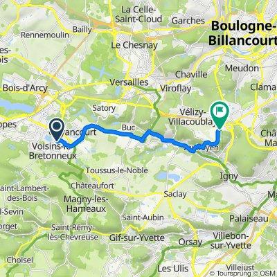 De Rue Jules Dumont d'Urville 36, Voisins-le-Bretonneux à Route de Gisy 2, Vélizy-Villacoublay