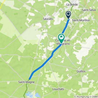 De Route de Saucats, Saint-Morillon à 53 Le Bourg, Cabanac-et-Villagrains