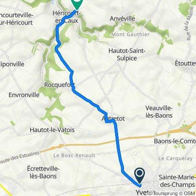 De 9 Rue Hédelin, Yvetot à 5 Route du Bercail, Héricourt-en-Caux