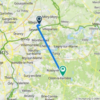 Itinéraire à partir de 12 Allée Louis Bréguet, Villepinte