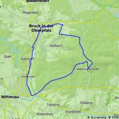 von Nittenau-Muckenbach über Bruck zum Waldhaus Einsiedel