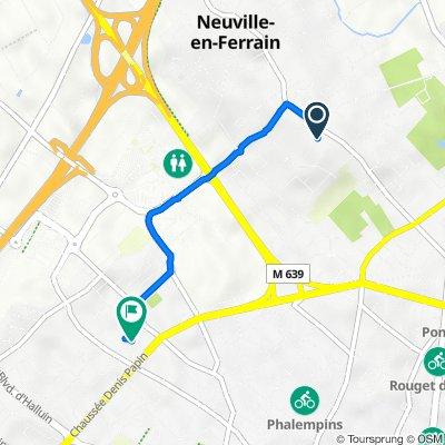 De 3bis Sentier Ottevaere, Neuville-en-Ferrain à 20 Rue Monge, Tourcoing