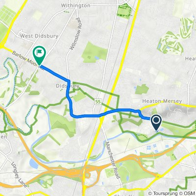 Riverview, Heaton Mersey, Stockport to 123 Barlow Moor Road, Manchester