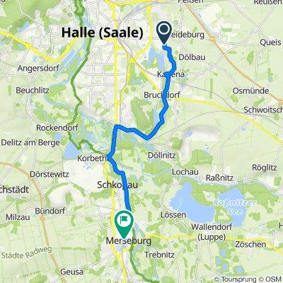 Himbeerweg 13, Halle (Saale) nach Poststraße 1–11, Merseburg