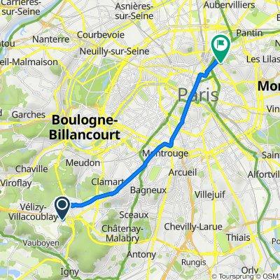 De Route de Gisy, Vélizy-Villacoublay à 87 Avenue Simón Bolívar, Paris