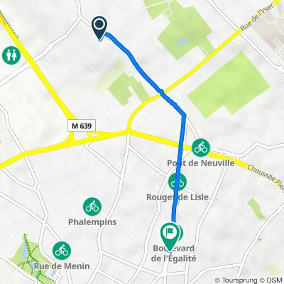 De 5 Sentier Ottevaere, Neuville-en-Ferrain à 16 Boulevard de l'Égalité, Tourcoing