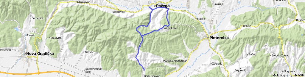 Pozega - Vidovci - Vasine Laze - Cosine Laze - Crkveni Vrhovci - Srednji Lipovac - Gradski Vrovci - Pozega