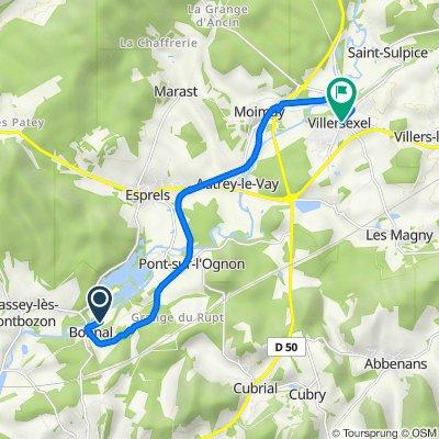 Route naar 3–5 Place du Monument, Villersexel