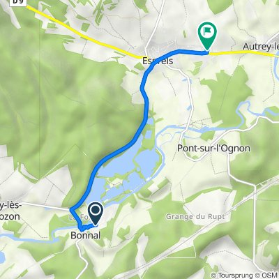 Route naar 14 Rue du 7ème Régiment de Chasseurs Alpins, Esprels