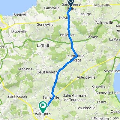 56 Rue du Calvaire, Saint-Pierre-Église to D902, Valognes