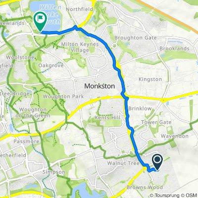25 Lutyens Grove, Milton Keynes to H6 Childs Way, Willen Lake, Milton Keynes