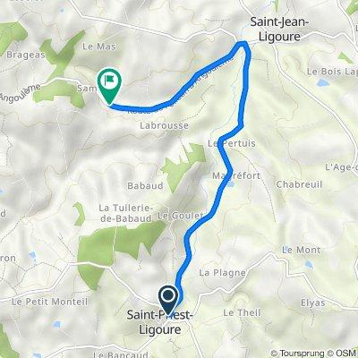 De 12 Rue de l'Église, Saint-Priest-Ligoure à D15, Saint-Jean-Ligoure