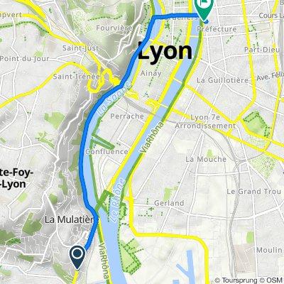De 3 Grande Rue, Oullins à Quai Victor Augagneur, Lyon