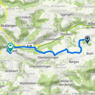 Unnamed Road, Böbingen an der Rems nach Paradiesstraße 24, Schwäbisch Gmünd