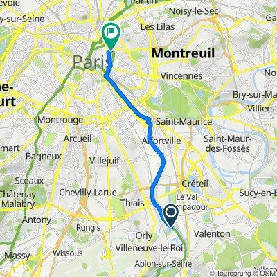 De Avenue du Front de Seine, Orly à 18–28 Rue Oberkampf, Paris