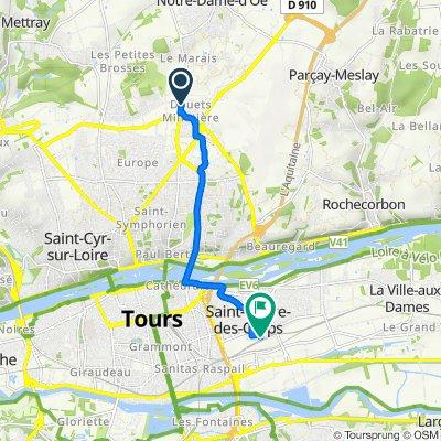 De 48 Avenue Gustave Eiffel, Tours à 2 Place de la Gare, Saint-Pierre-des-Corps