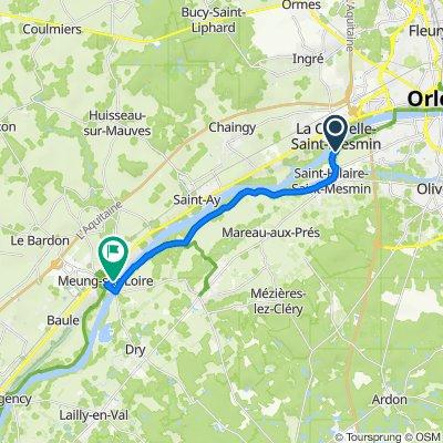 De Rue des Hautes Levées, Saint-Pryvé-Saint-Mesmin à 23–28 Quai Jeanne d'Arc, Meung-sur-Loire