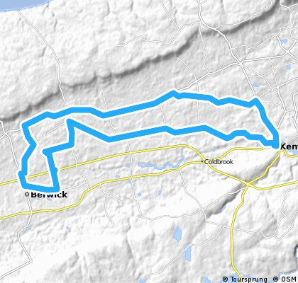 proposed Saturday ride from Kentville to Berwick.