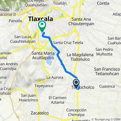 De Calle Privada 5 De Mayo, Teolocholco a Calle Jaime Nuno 9, Tlaxcala de Xicohténcatl