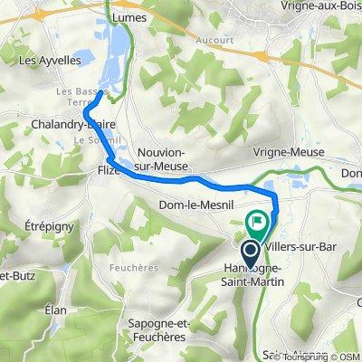 De 2bis Rue de la Cour, Hannogne-Saint-Martin à Route de Pont-à-Bar, Hannogne-Saint-Martin