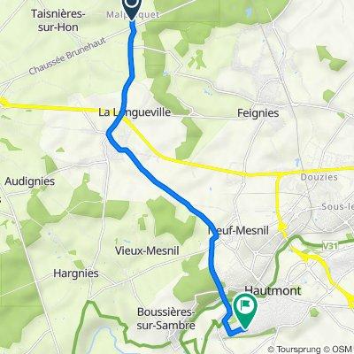De 1–11 Chemin du Riez de l'Érelle, Taisnières-sur-Hon à Rue des Châtaigniers, Hautmont