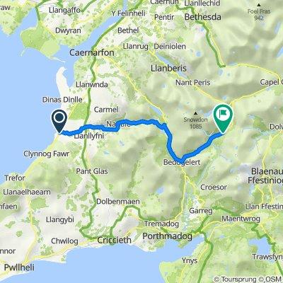 Clynnog Road, Pontllyfni, Caernarfon to A498, Nant Gwynant, Caernarfon