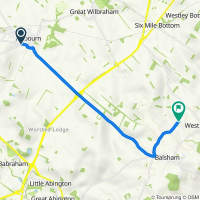 Route from 43 Cambridge Road, Cambridge