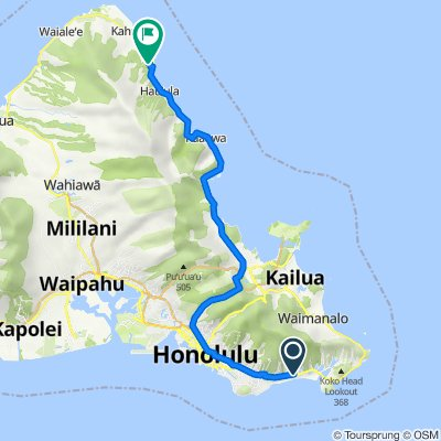 Route from 5475 Kalanianaole Hwy, East Honolulu