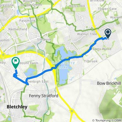Route from 25 Lutyens Grove, Milton Keynes