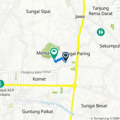 Jalan Rahayu Sungai Paring 3, Kecamatan Banjarbaru Utara to Jalan Banjar No. 7, Kecamatan Banjarbaru Utara