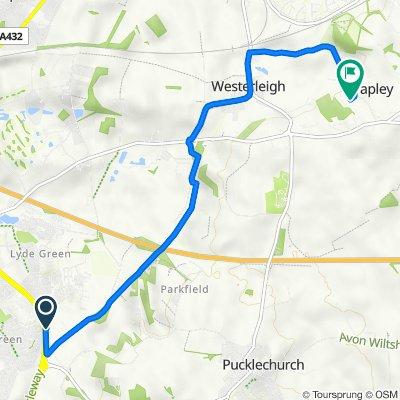 A4174, Shortwood, Mangotsfield, Bristol to The Cottage, Wapley Hill, Bristol