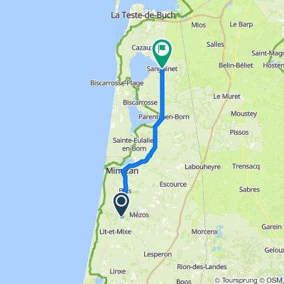 Route des Lacs 1464, Saint-Julien-en-Born to Avenue de la Côté d'Argent 24, Sanguinet