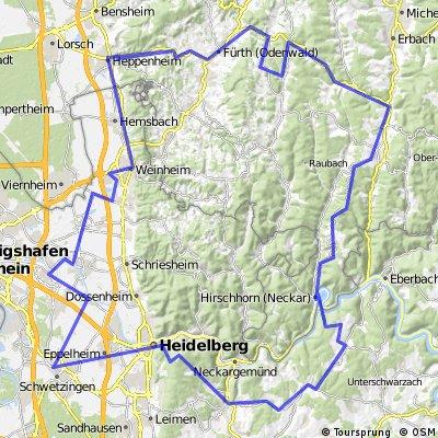 2-Tages-Tour (Schwetzingen-Königstuhl-Odenwald-Schwetzingen)