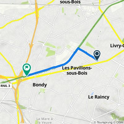 De 19 Avenue Quesnay, Livry-Gargan à Chemin de Halage, Bondy