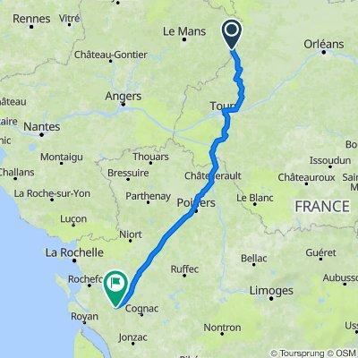 De Les Mazureries, Marolles-lès-Saint-Calais à Rue du Champ de Tir 3, Saintes