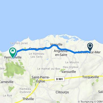 29ter Village de l'Église, Néville-sur-Mer nach La Heugue, Fermanville