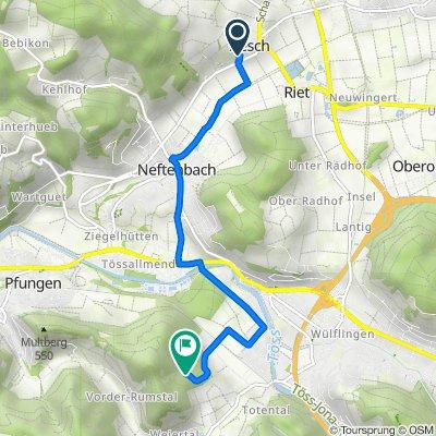 Route von Haldenweg 11, Aesch bei Neftenbach