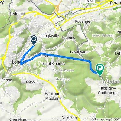 De Rue de la Chiers 96, Longwy à Route de Saulnes 3, Hussigny-Godbrange